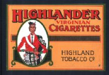 Collectable LARGE SIZE Highlander Cigarette packet label  #705